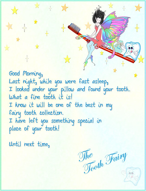 Free Tooth Fairy Letter Enter Name