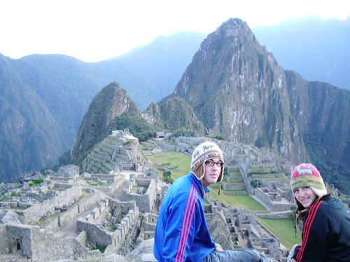 Us at sunrise over Machu Picchu