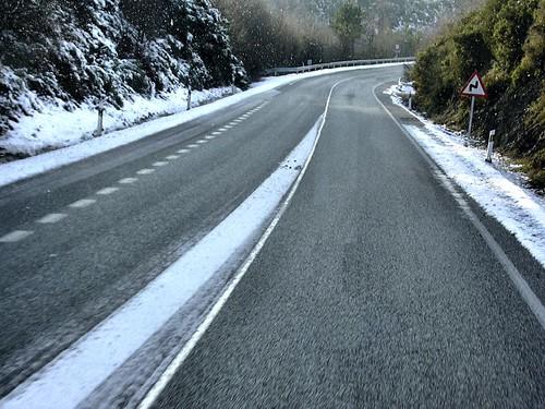 La nevada desde el autobús (descubre el retoque)