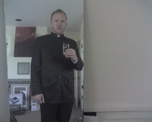 wearing my priest outfit to cocktail hour