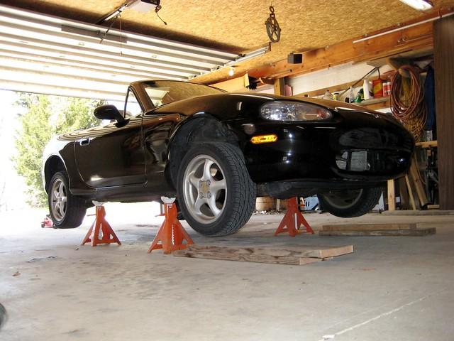 Lifted Miata in the Garage