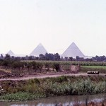 Giza pyramids and Sahara Desert in distance near Cairo, Egypt