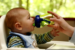he won't drink from a bottle, but he'll use a sippy …