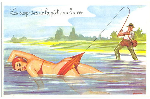 Women Fishing (not) Funny Vintage Fishing Card