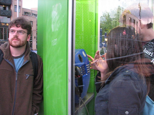 Jack and Jasmine texting on the Payphone