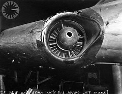 wheel(0.0), bomber(0.0), aviation(1.0), airplane(1.0), vehicle(1.0), jet engine(1.0), monochrome photography(1.0), monochrome(1.0), black-and-white(1.0), aircraft engine(1.0),