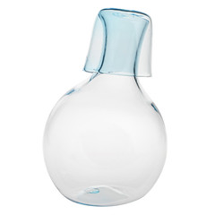 bowling pin(0.0), drinkware(0.0), cobalt blue(0.0), bottle(0.0), lighting(0.0), glass bottle(1.0), aqua(1.0), glass(1.0), vase(1.0),