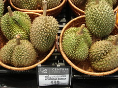 Durian...  stay away if you can't stand the smell...