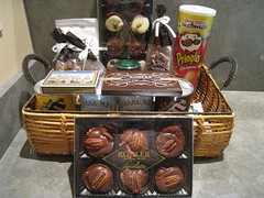hamper, wood, food, gift basket, chocolate, basket,