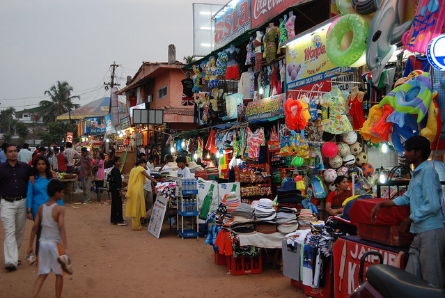 Goods for sale, Calangute beach, Goa, India - Flickr CC Paul Mannix