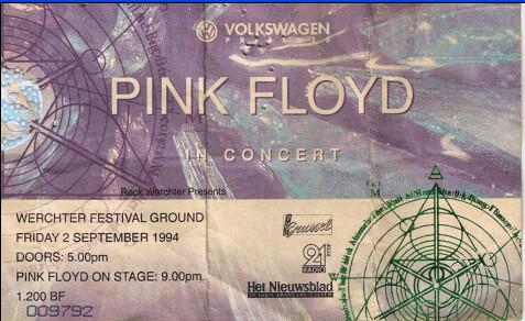 Pink Floyd, toegangskaart 02/09/1994