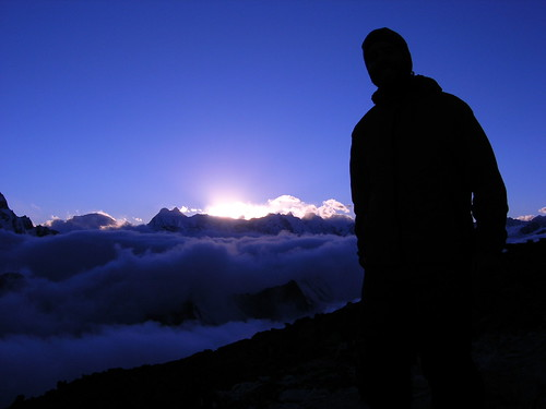 nepal sunset mountains expedition climbing himalaya khumbu amadablam