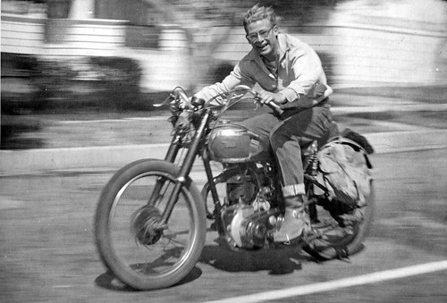 My dad on 1949 B34 BSA Goldstar - 1951