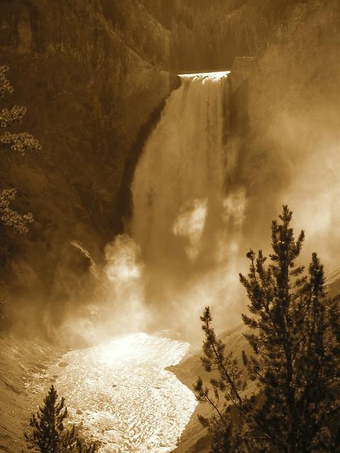 Misty falls at Yellowstone