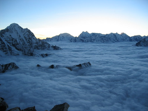nepal sunset mountains expedition climbing himalaya khumbu amadablam