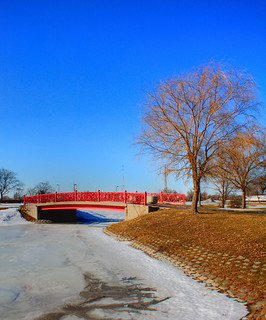 Red Footbridge on Belle Isle - Detroit