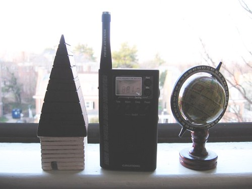 Radio in window, Tuesday.