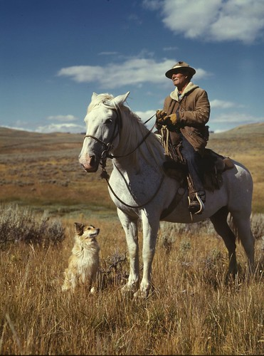 No Known Restrictions: Shepherd with his Horse and Dog by Russell Lee, 1942 (LOC)