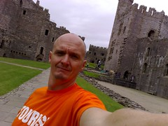 Self photo of tourist at Caernarfon Castle