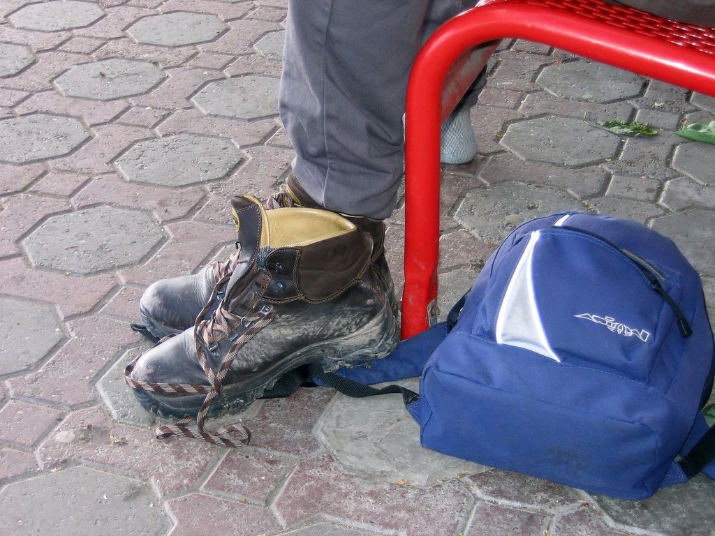 Boot and Rucksack SF could not resist taking his boot off on Wendover station.