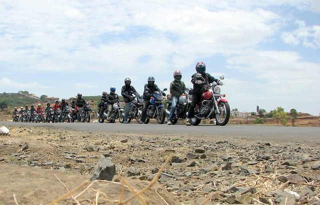 16 Bikes: 15 (Bombay Pulsars) plus the lead bike is Me on my A v v y