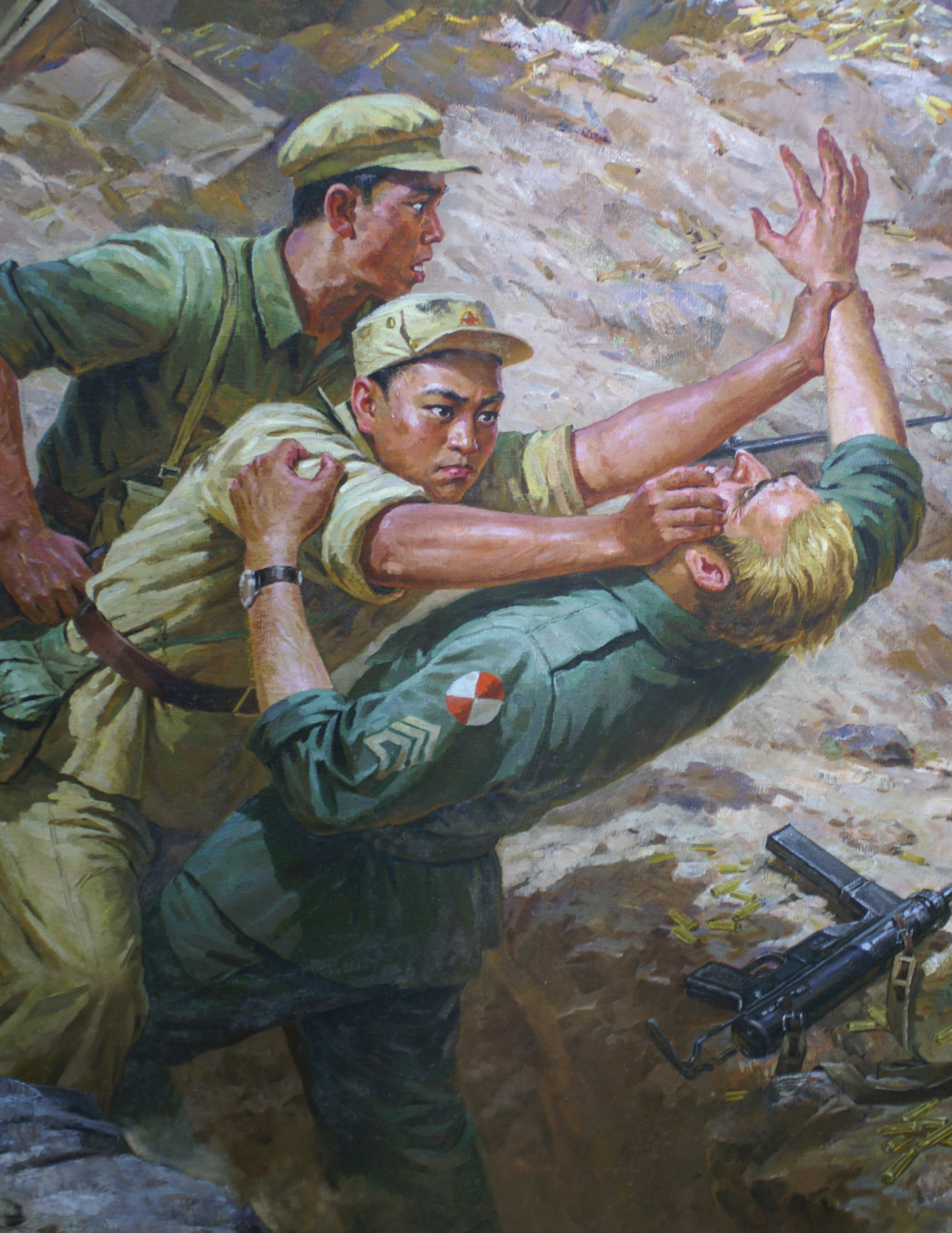 Chinese volunteer fighting a GI with his bare hands