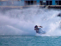 waterskiing(0.0), powerboating(0.0), canoe slalom(0.0), kayaking(0.0), canoeing(0.0), boat(0.0), vehicle(1.0), sports(1.0), recreation(1.0), outdoor recreation(1.0), boating(1.0), wind wave(1.0), extreme sport(1.0), wave(1.0), water sport(1.0), jet ski(1.0), personal water craft(1.0), watercraft(1.0),