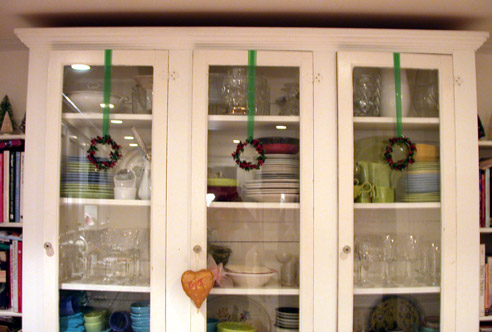 Little wreaths on new hutch