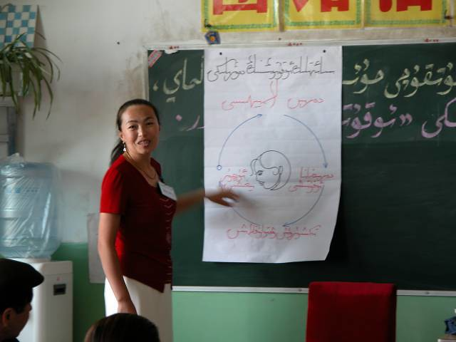 Teaching the adult learning cycle in Uyghur, Shanshan, Xinjiang, China