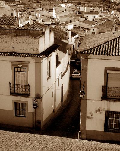 evora portugal street bw