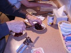 preparing the cranberries