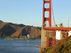 Golden Gate Bridge and China freighter
