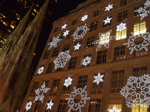 Near rockefeller center these snowflakes lite up to a for New york city decor