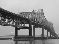 landmark, truss bridge, cantilever bridge, monochrome photography, monochrome, black-and-white, bridge,