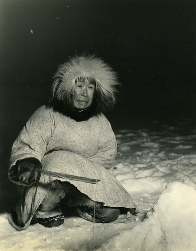 Eskimo Woman Ice Fishing