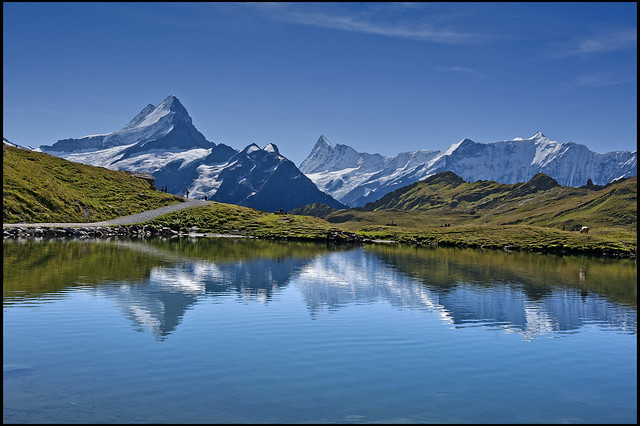 Alpine Panorama, First,  The Bachsee. Canton of Bern. Switzerland. No. 9078.