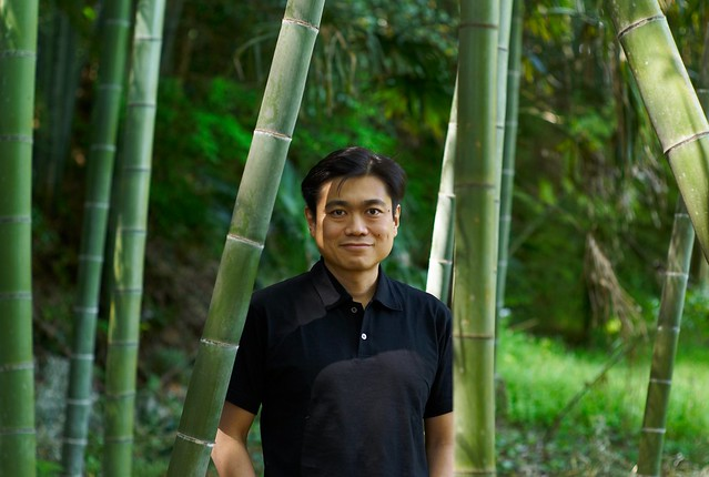 Joi with backyard bamboo