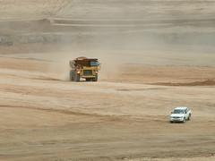 chantier d'un barrage pour une mine d'or en Mongolie