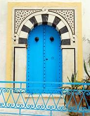 Blue Door with railing