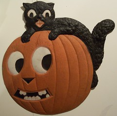 Vintage German Halloween Diecut Cat on Jack-O-Lantern