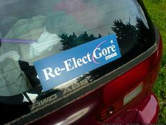 """re elect gore 2008"" bumper sticker   DSC00148"