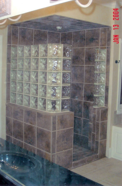 Glass block shower enclosure flickr photo sharing for Glass block shower ideas