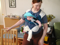 Mei tai baby carrier, forward facing baby, in front carry
