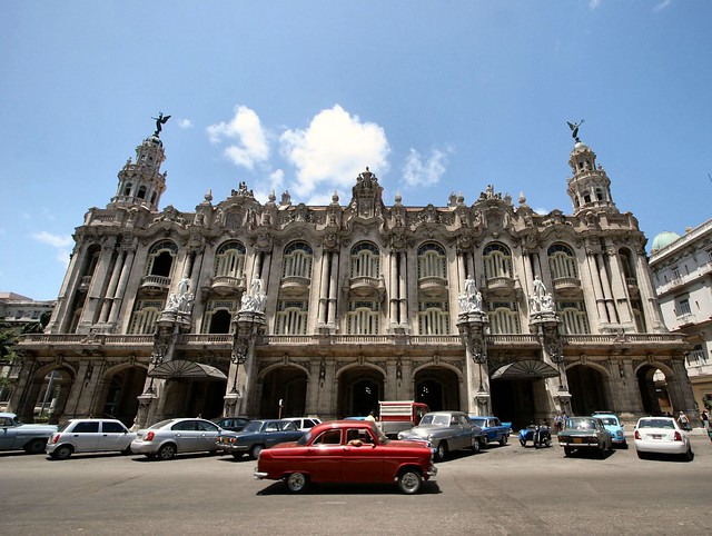 The Great Theatre of Havana (Gran Teatro de La Habana) and a Ford Consul