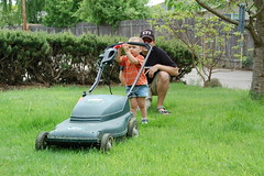 vehicle(0.0), outdoor power equipment(1.0), grass(1.0), mower(1.0), lawn mower(1.0), lawn(1.0),
