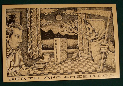 "1985 Death Postcard - Skeleton Skull  ""Death and Cheerios"""