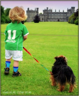 MATTHEW AND RUSTY AT KILKENNY CASTLE.