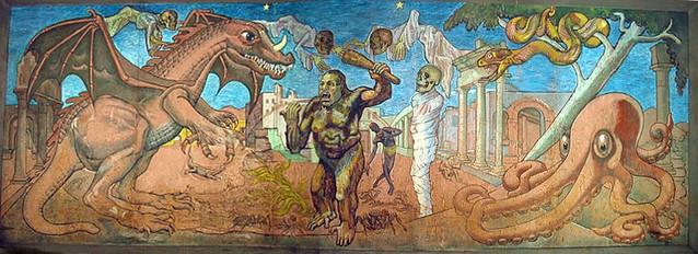 Terror Ride mural (aka monster baseball) - Lagoon, Utah