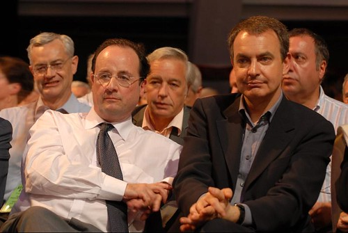 Zapatero y Hollande, el lider socialista frances