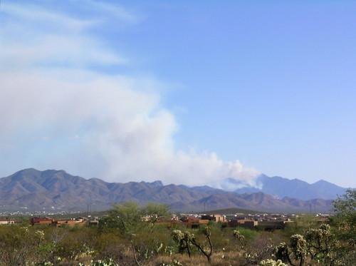 cactus mountains fire smoke sonorandesert santaritas